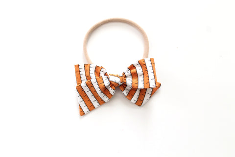 BOO Stripe in Orange - Mini Knot Bow
