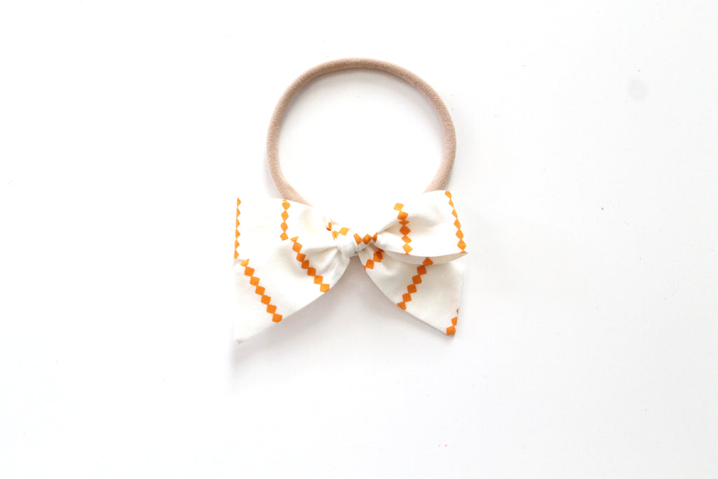 Orange Diamond Stripe - Mini Hand-Tied