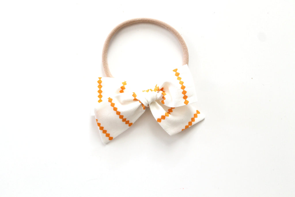 Orange Diamond Stripe - Mini Knot Bow