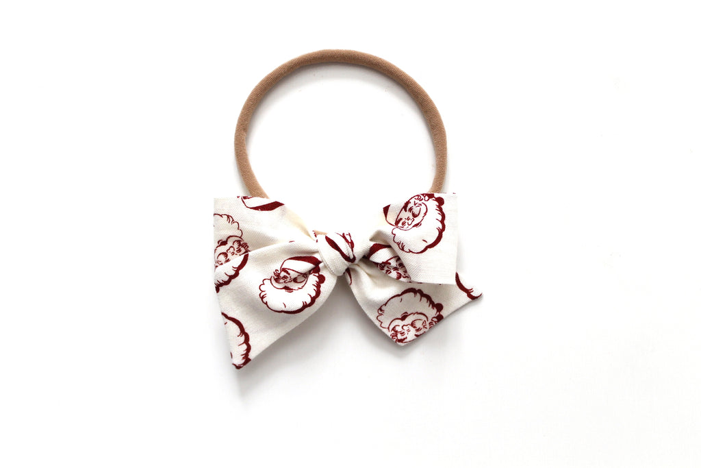 Vintage Santa in Cream - Holiday - Mini Knot Bow