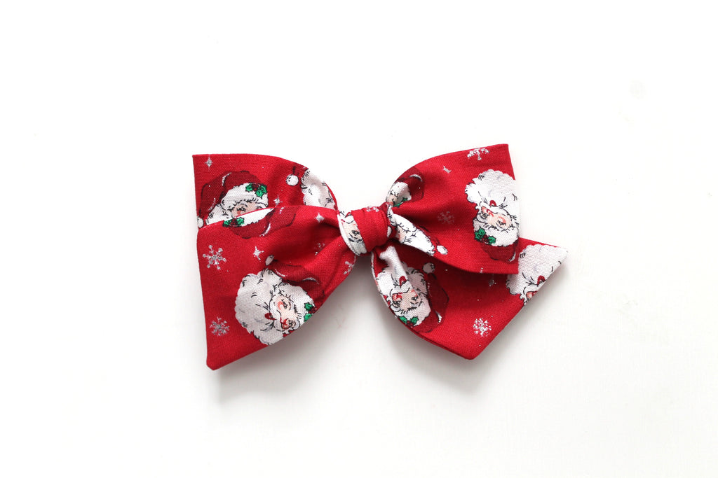 Vintage Santa in Red - Holiday - Oversized Knot Bow