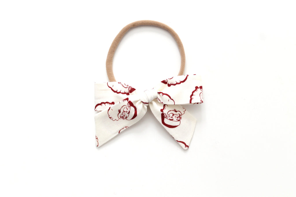 Vintage Santa in Cream - Holiday - Mini Hand-Tied