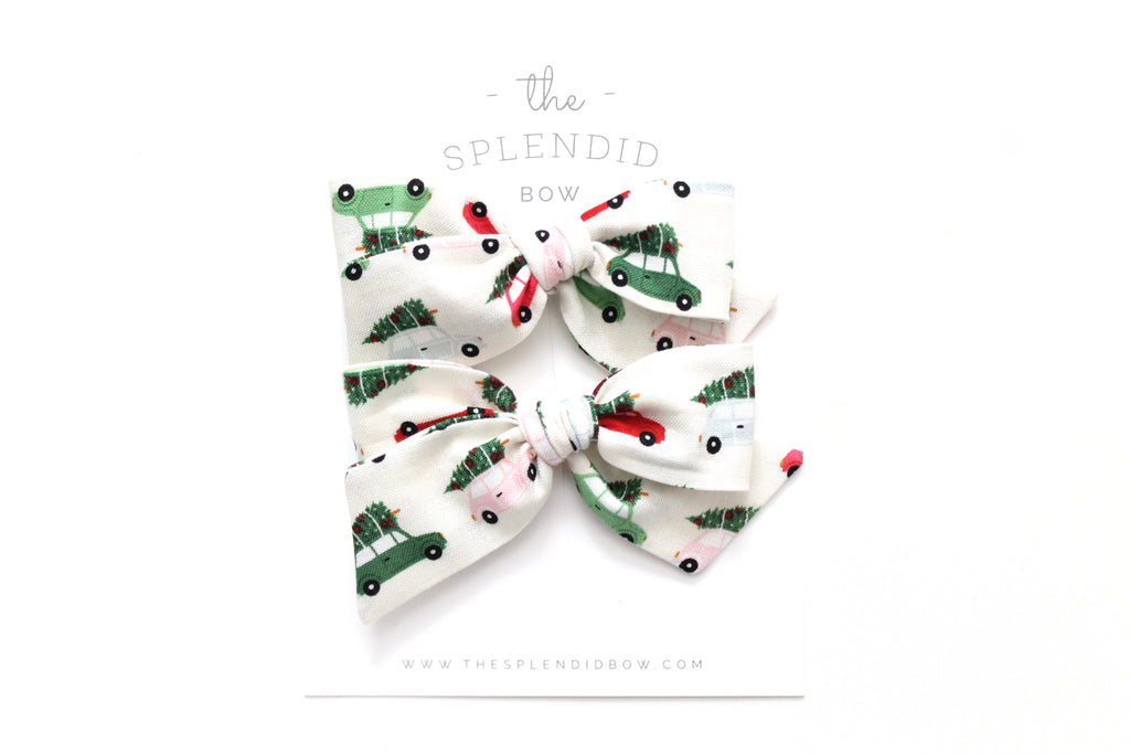 Christmas Cars - Holiday - Pigtail Set - Mini Knot