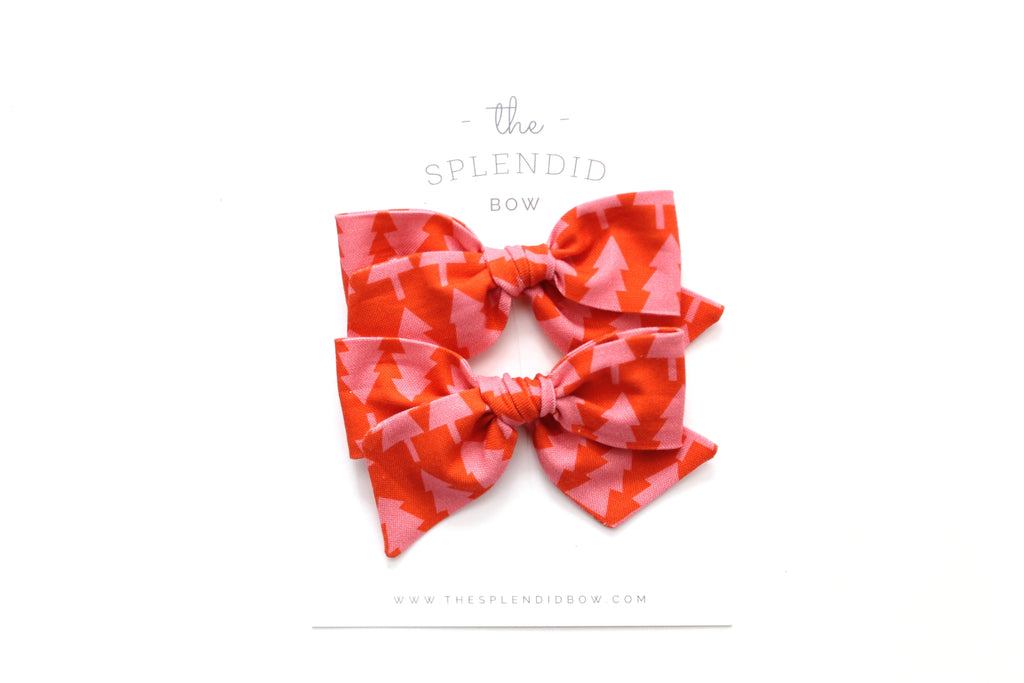 Pink/Coral Tree's - Holiday - Pigtail Set - Mini Knot