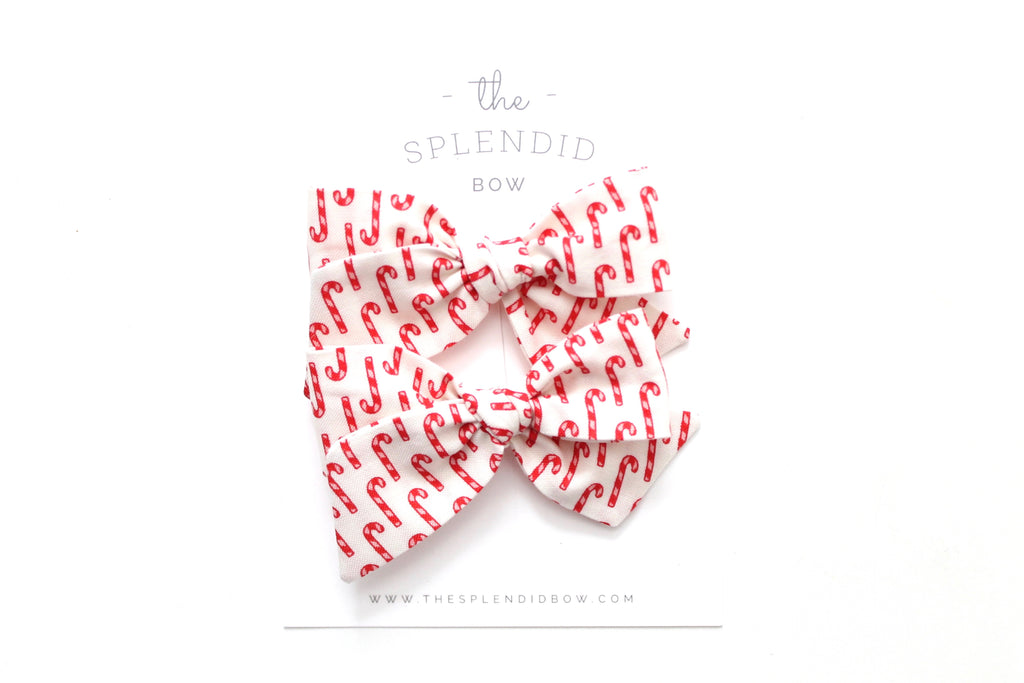 Candy Cane - Holiday - Pigtail Set - Mini Knot