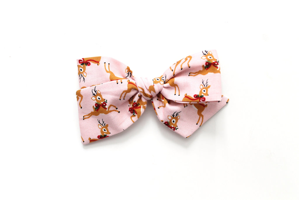 Oh Deer in Pink - Holiday - Oversized Knot Bow