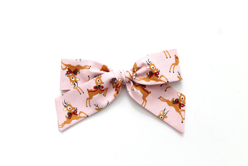 Oh Deer in Pink - Holiday - Oversized Hand-Tied