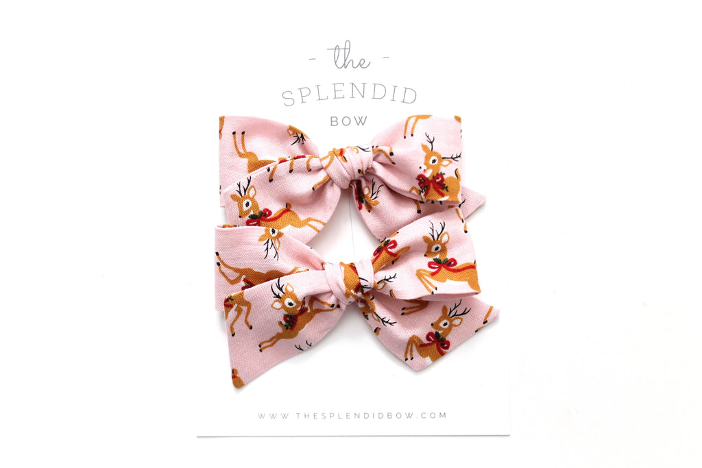 Oh Deer in Pink - Holiday - Pigtail Set - Mini Knot