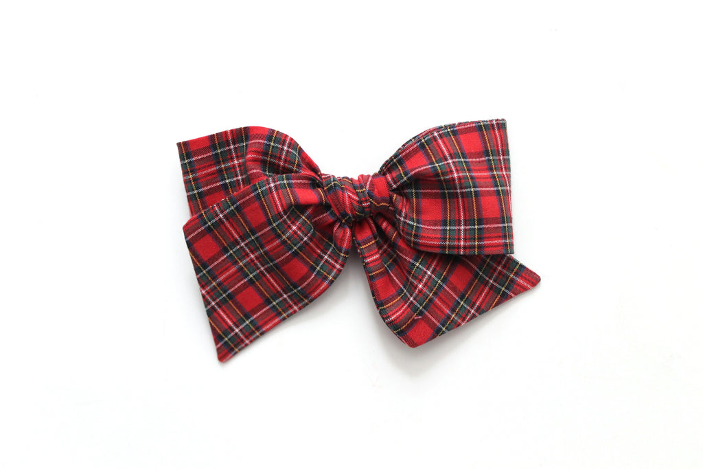 Red Tartan - Holiday - Oversized Knot Bow