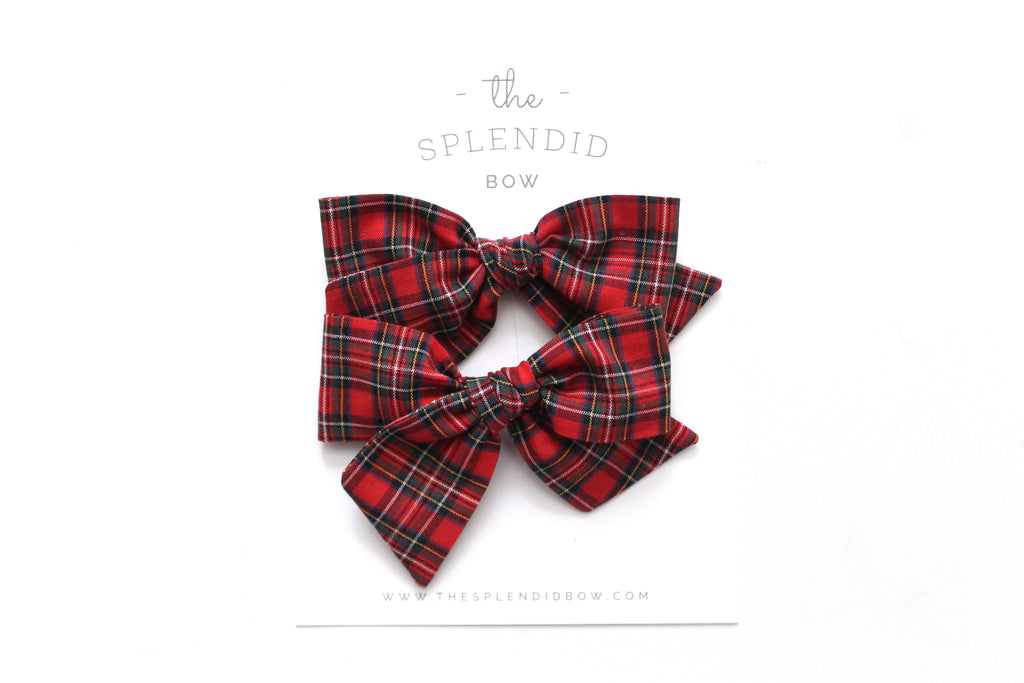 Red Tartan - Holiday - Pigtail Set - Mini Knot