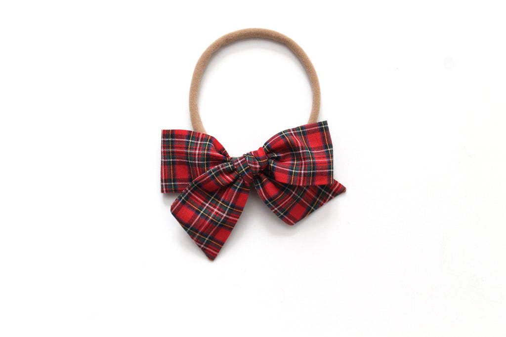 Red Tartan - Holiday - Mini Knot Bow