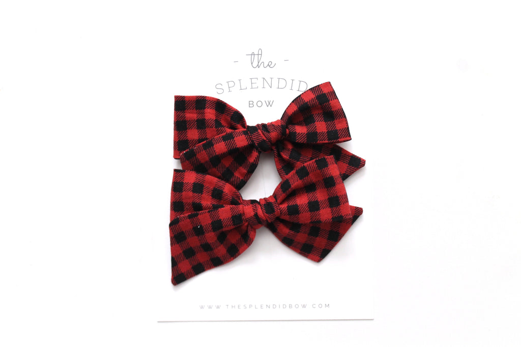 Buffalo Plaid - Holiday - Pigtail Set - Mini Knot