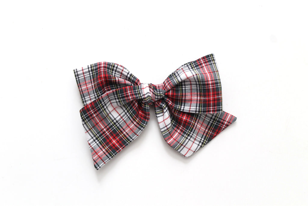 White Tartan - Holiday - Oversized Knot Bow