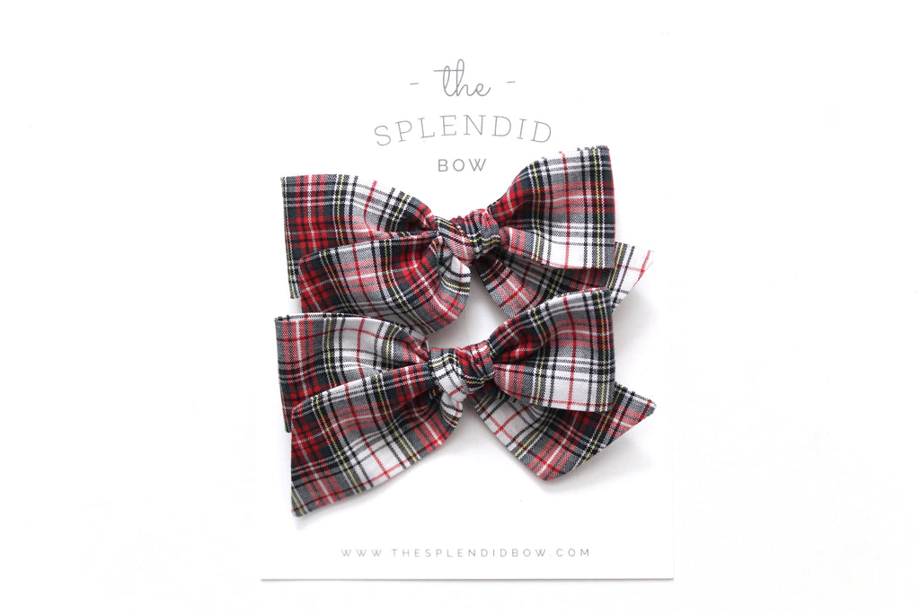 White Tartan - Holiday - Pigtail Set - Mini Knot