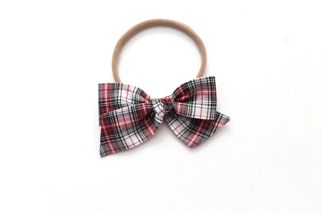 White Tartan - Holiday - Mini Knot Bow