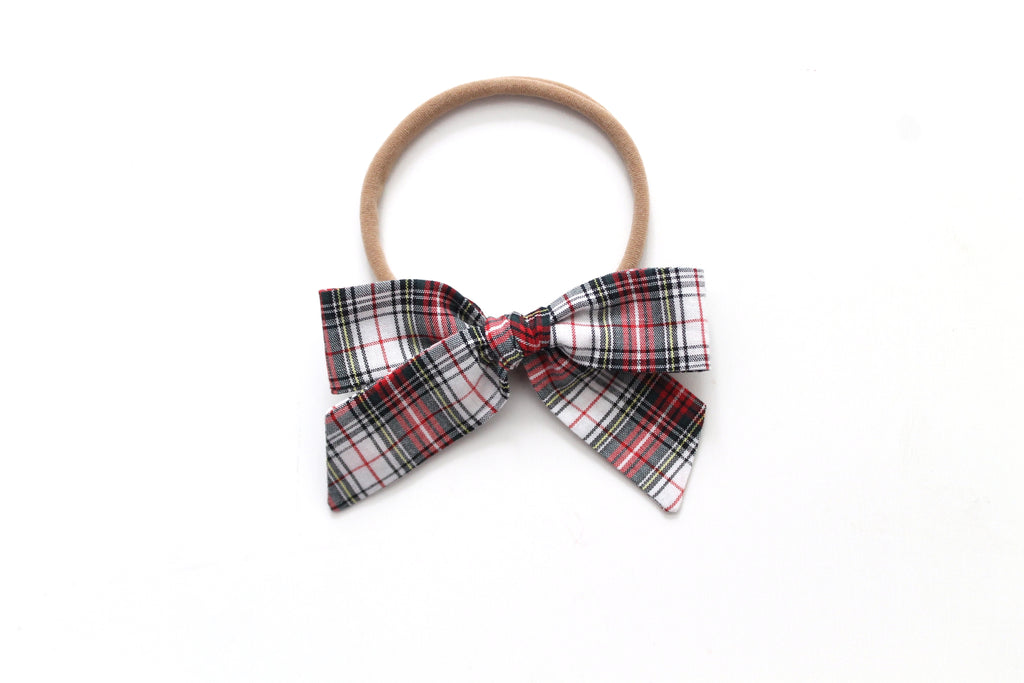 White Tartan - Holiday - Mini Hand-Tied