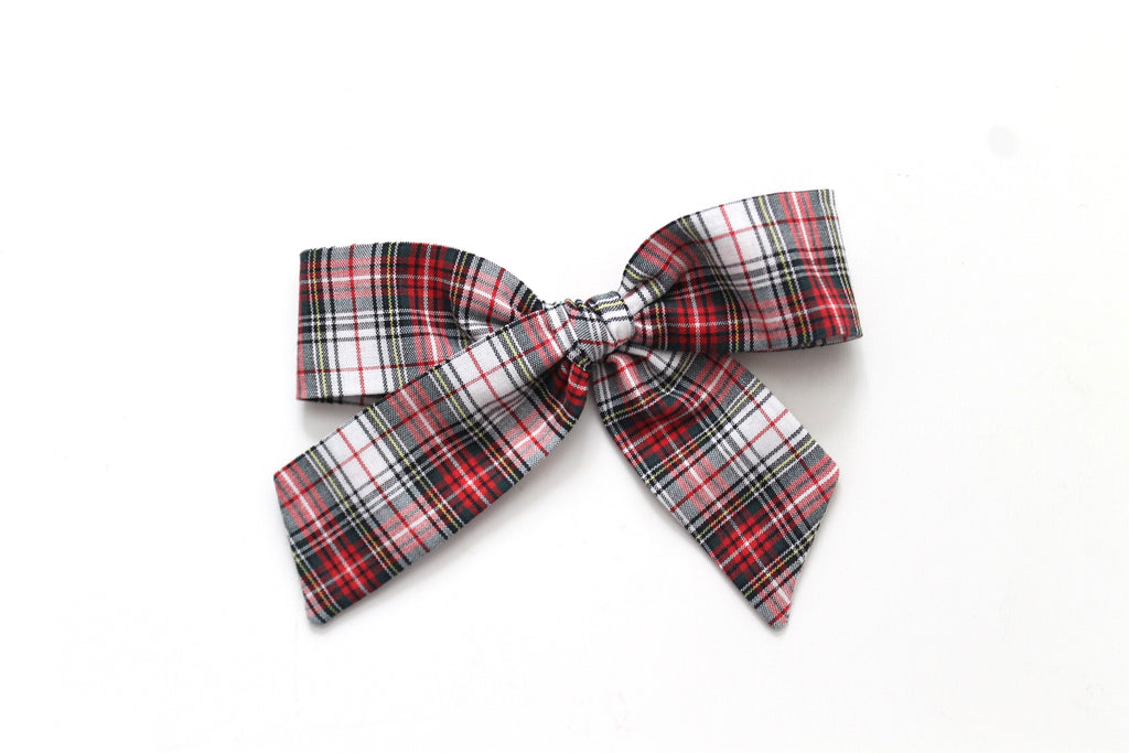 White Tartan - Holiday - Oversized Hand-Tied