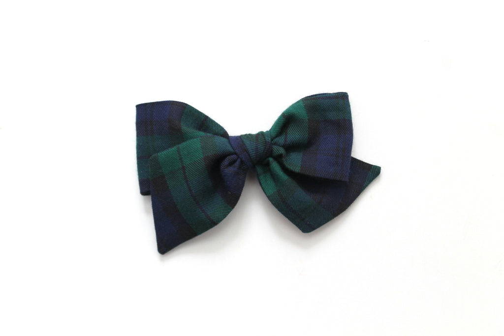 Blue/Green Tartan - Holiday - Oversized Knot Bow