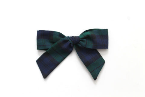 Blue/Green Tartan - Holiday - Oversized Hand-Tied