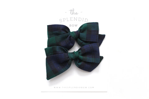 Blue/Green Tartan - Holiday - Pigtail Set - Mini Knot