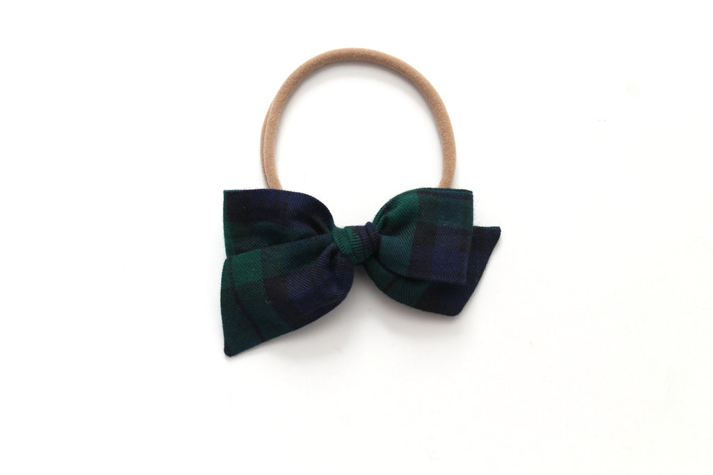 Blue/Green Tartan - Holiday - Mini Knot Bow
