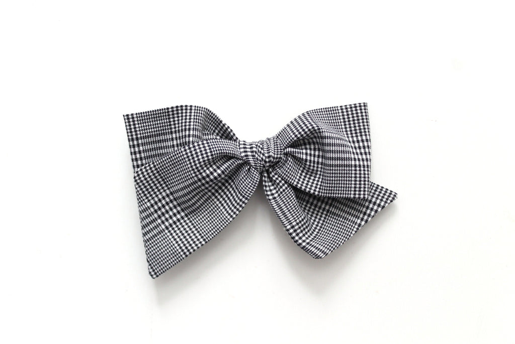 Black Micro Plaid - Holiday - Oversized Knot Bow