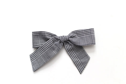 Black Micro Plaid - Holiday - Oversized Hand-Tied