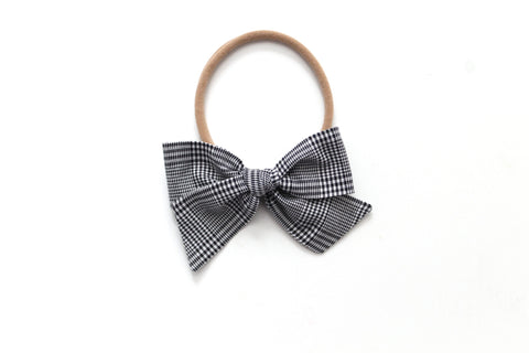 Black Micro Plaid - Holiday - Mini Knot Bow