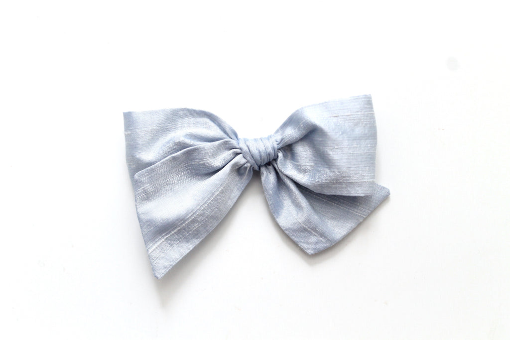 Winter Blue Dupioni Silk - Holiday - Oversized Knot Bow