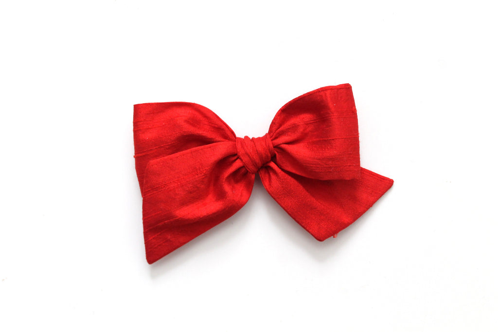 Holiday Red Dupioni Silk - Holiday - Oversized Knot Bow