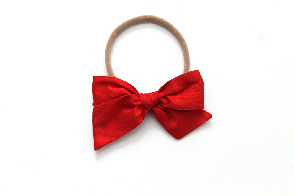 Holiday Red Dupioni Silk - Holiday - Mini Knot Bow