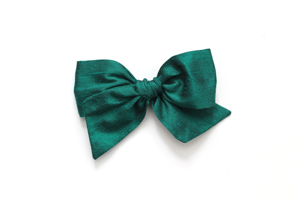 Emerald Dupioni Silk - Holiday - Oversized Knot Bow