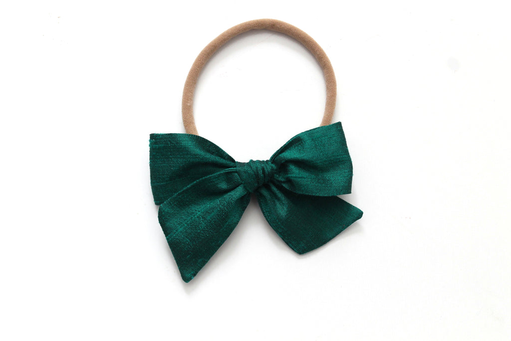 Emerald Dupioni Silk - Holiday - Mini Knot Bow