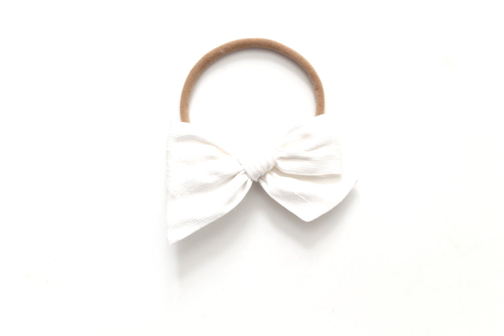 Snow Dupioni Silk - Holiday - Mini Knot Bow