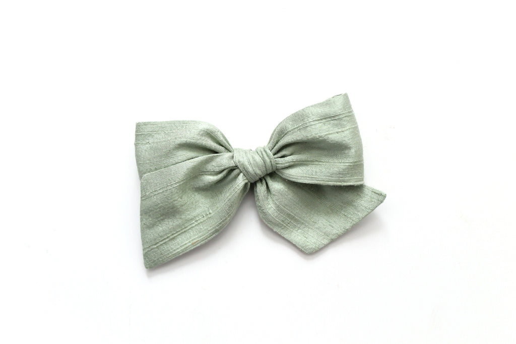 Vintage Green Dupioni Silk - Holiday - Oversized Knot Bow