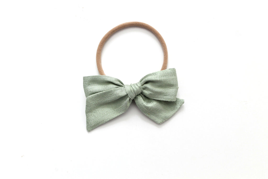 Vintage Green Dupioni Silk - Holiday - Mini Knot Bow