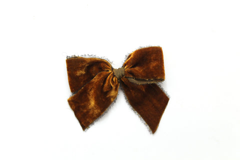 Gingerbread - Holiday - Raw Edge Silk Velvet Bow