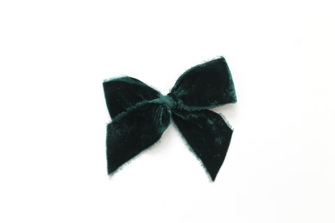 Pine - Holiday - Raw Edge Silk Velvet Bow
