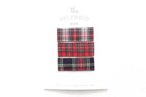 Copy of Set of 3 - Holiday Plaid - LARGE Snap Clips