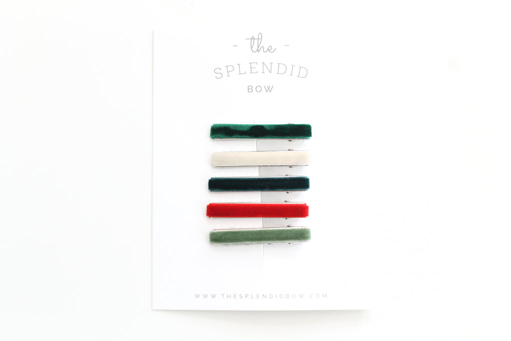 Set of 5 Holiday Velvet Bar Clips