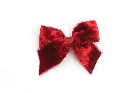 Ruby Red - Holiday - Raw Edge Silk Velvet Bow