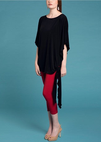 Dolman Top with side tie-  Black