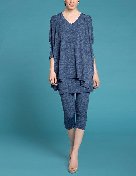 Essential V Neck Tunic -Denim