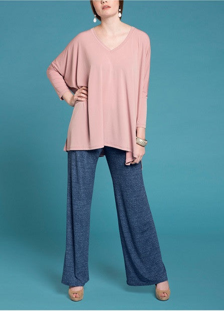 Essential V Neck Tunic - Tea Pink