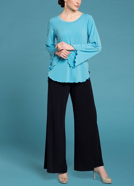 Tunic top With Bell Sleeve- Aqua