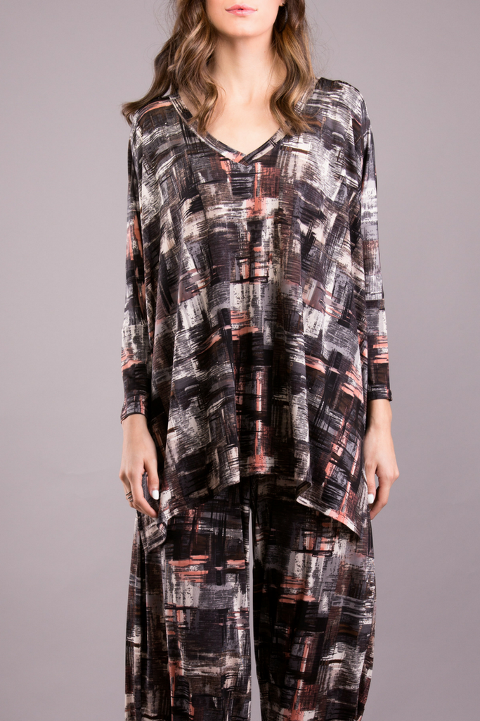 Essential V Neck Tunic- Multi Grey Print