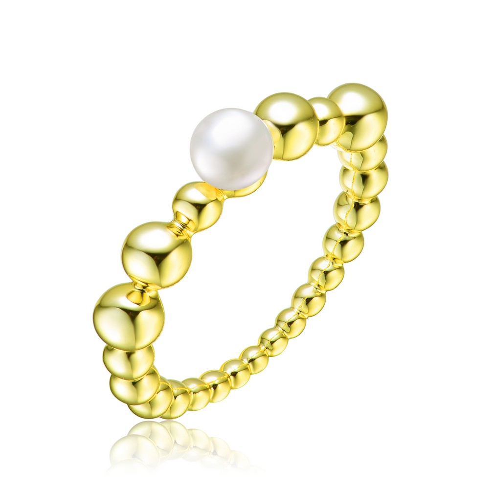 Genevive Sterling Silver Gold Plated 4.5MM Freshwater Pearl Ring with Balls