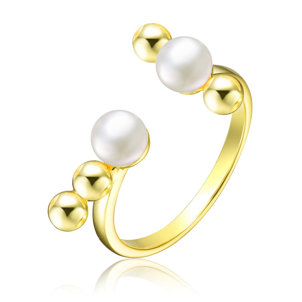Genevive Sterling Silver Gold Plated 5MM Freshwater Pearl Ring with Balls