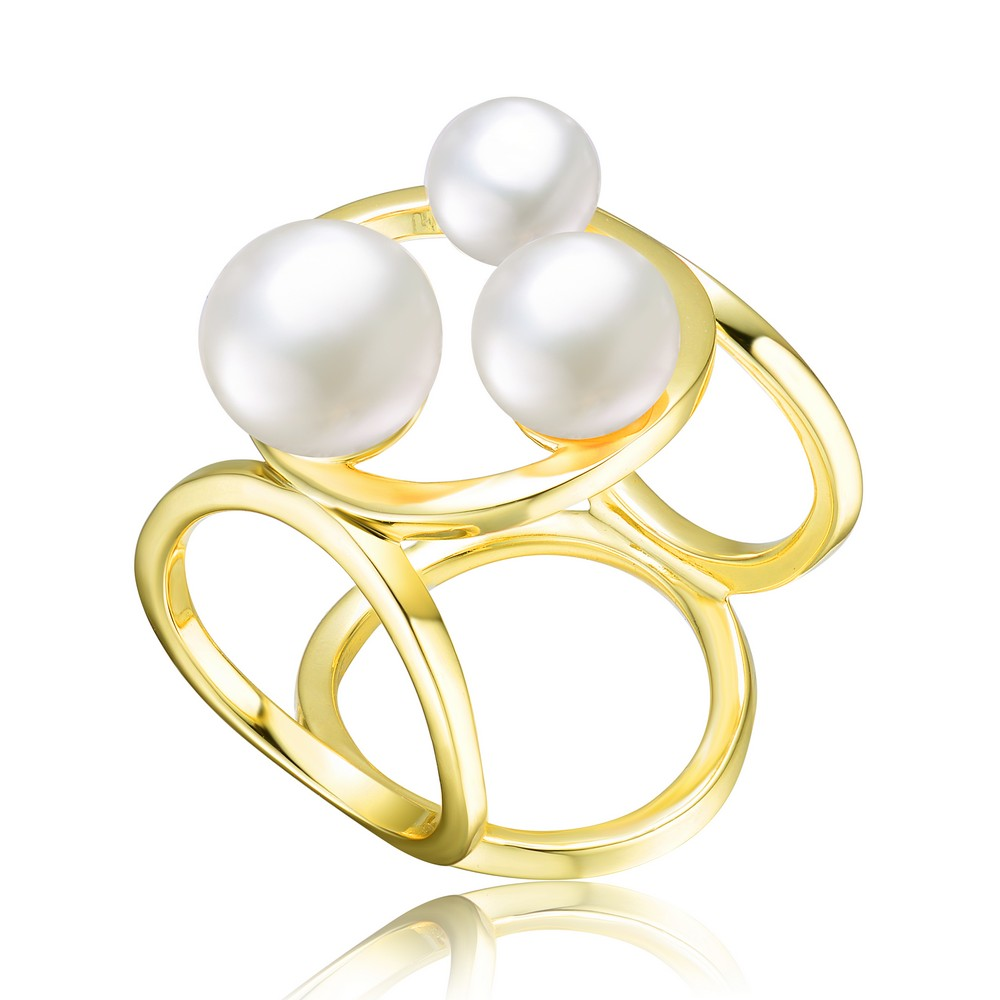 Genevive Sterling Silver Gold Plated 6.5-8mm Freshwater Pearl Ring