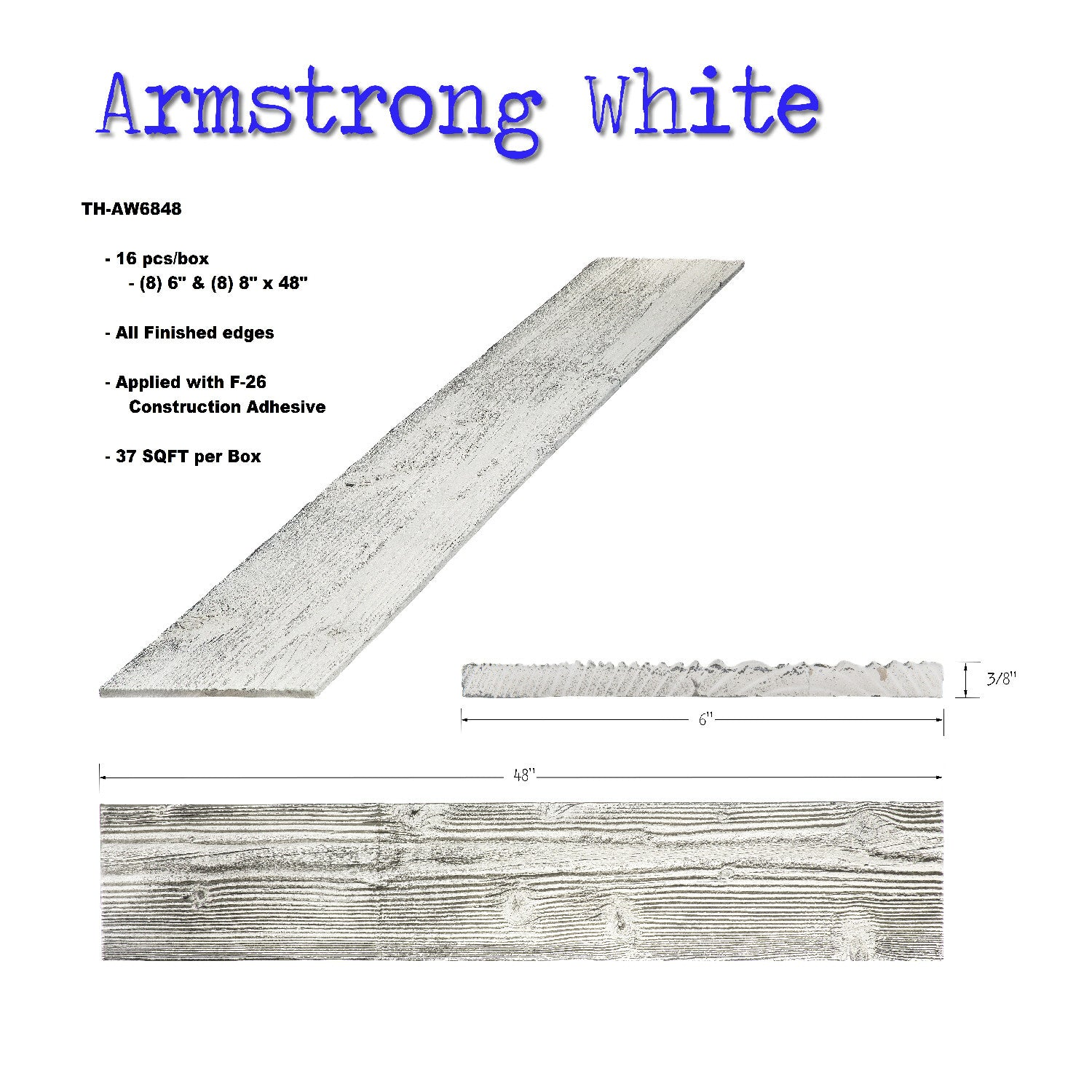 Thin Plank-Armstrong White 37 Sqft Box @ $12.95/sqft